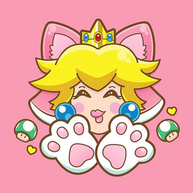 Cat peach! 🐱🍑 #princesspeach #peach #catpeach #nintendo #fanart #1UP #mushroom #illustration #vector #vectorart #graphicdesign #graphicdesignblg #illustree @illustree #princess #instagood #nofilter #pink #cute #kawaii #gaming #mushroomkingdom #meow #cat