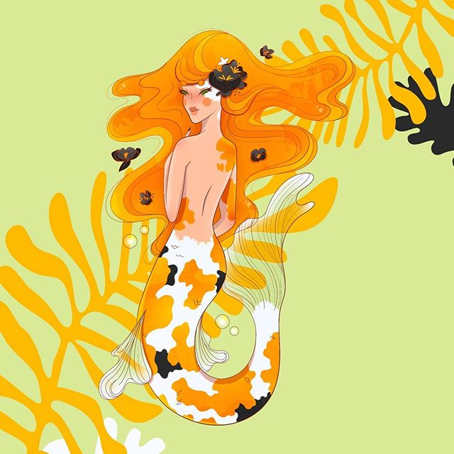 there's only like, an day left of #mermay but oh hey look I did it here's a merm  #mermaid #koi #koifish #illustration #koimermaid #instagood #illustree @illustree #graphicdesign #graphicdesigncentral #fantasy #fantasyart #adobe #illustrator #photoshop #nofilter