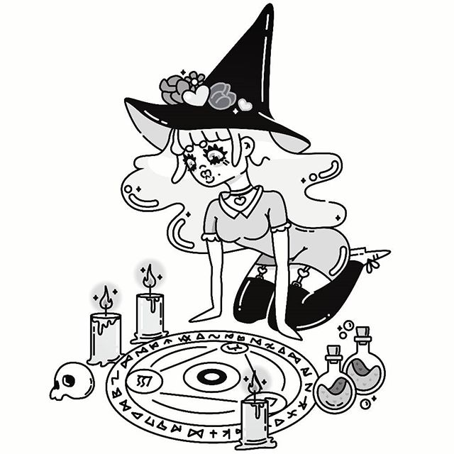 just a lil witch summoning doodle in the spirit of spookiness and inktober  #witch #summoning #summoningcircle #intober #grayscale #monotone #graphicdesign #graphicdesigncentral #graphicdesignblg #illustree #illustration #girl #instagood #nofilter #candles #skull #spooky #halloween #potion #vector #vectorart #art #cute #doodle #sketch #drawtober #drawtober2018
