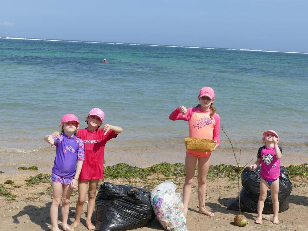 Notre conscience écologique nous a poussé à faire notre petite part pour la plage de Sanur.