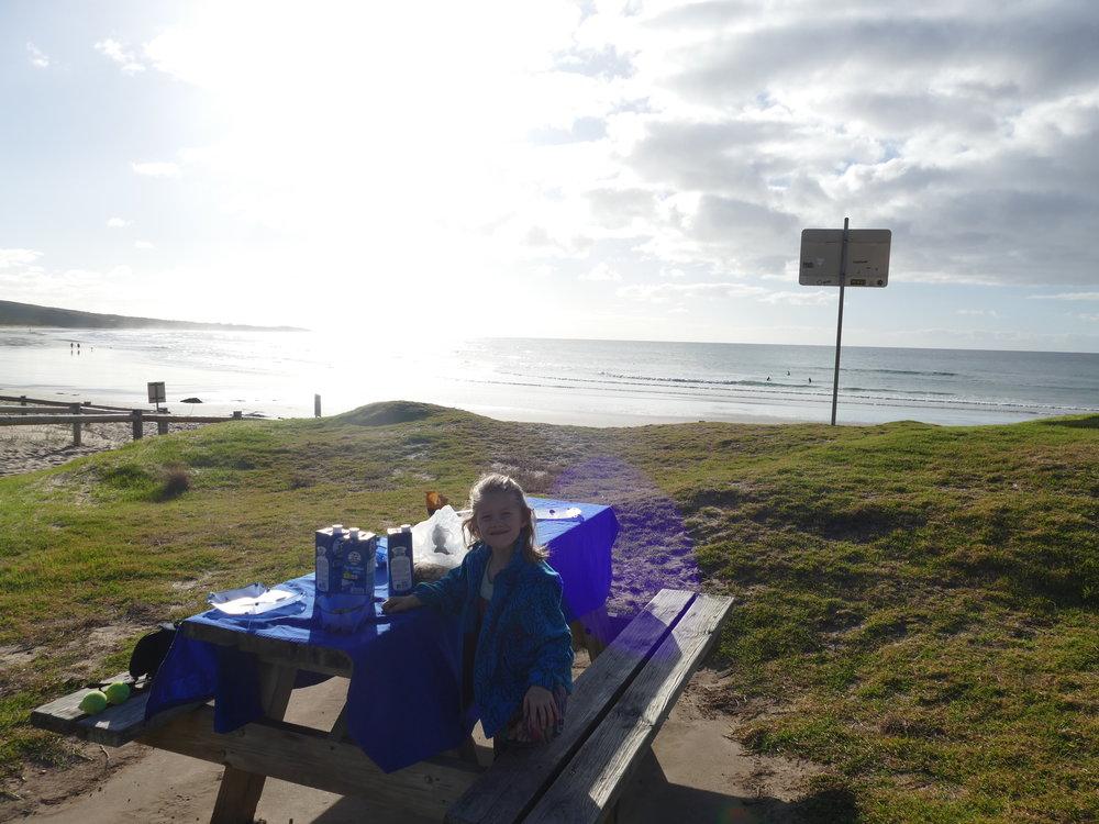 Un dernier petit déjeuner aux abords de la gréât océan road... mais certainement pas le dernier dans le pays!!!