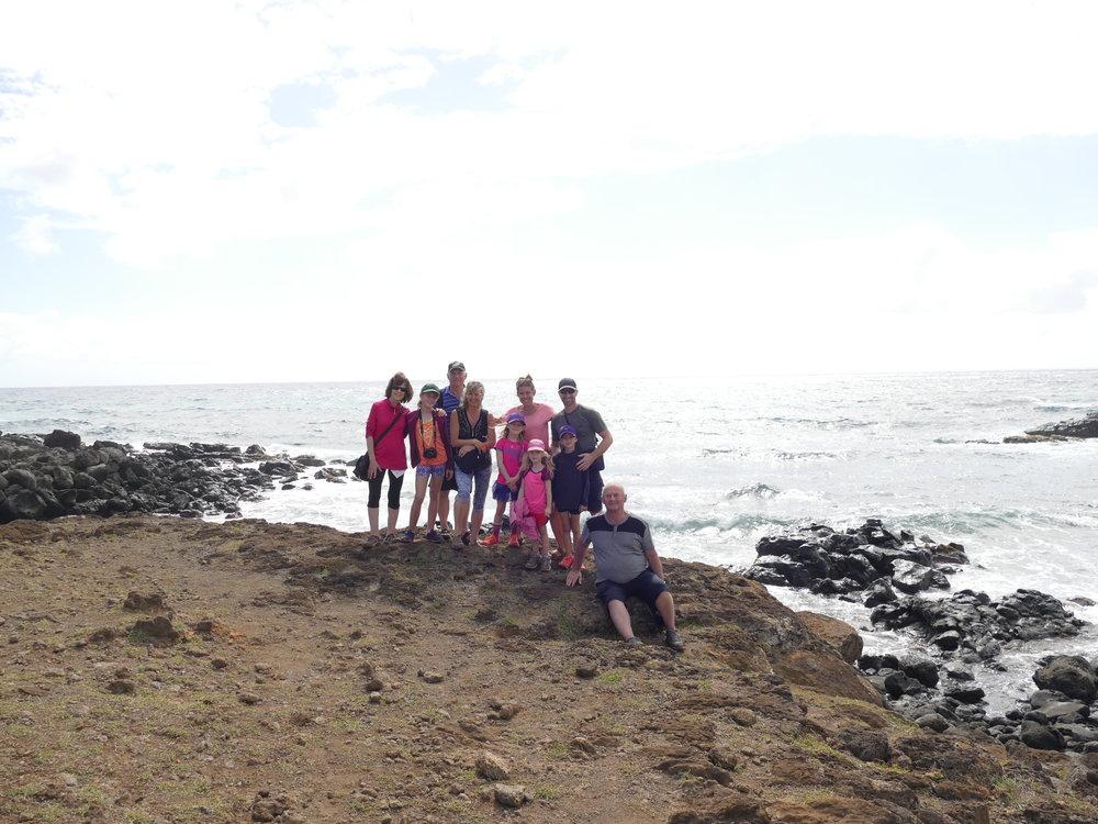 Nous avions de la belle compagnie pour visiter l'île: papi, mamie, Lyne et Roméo.