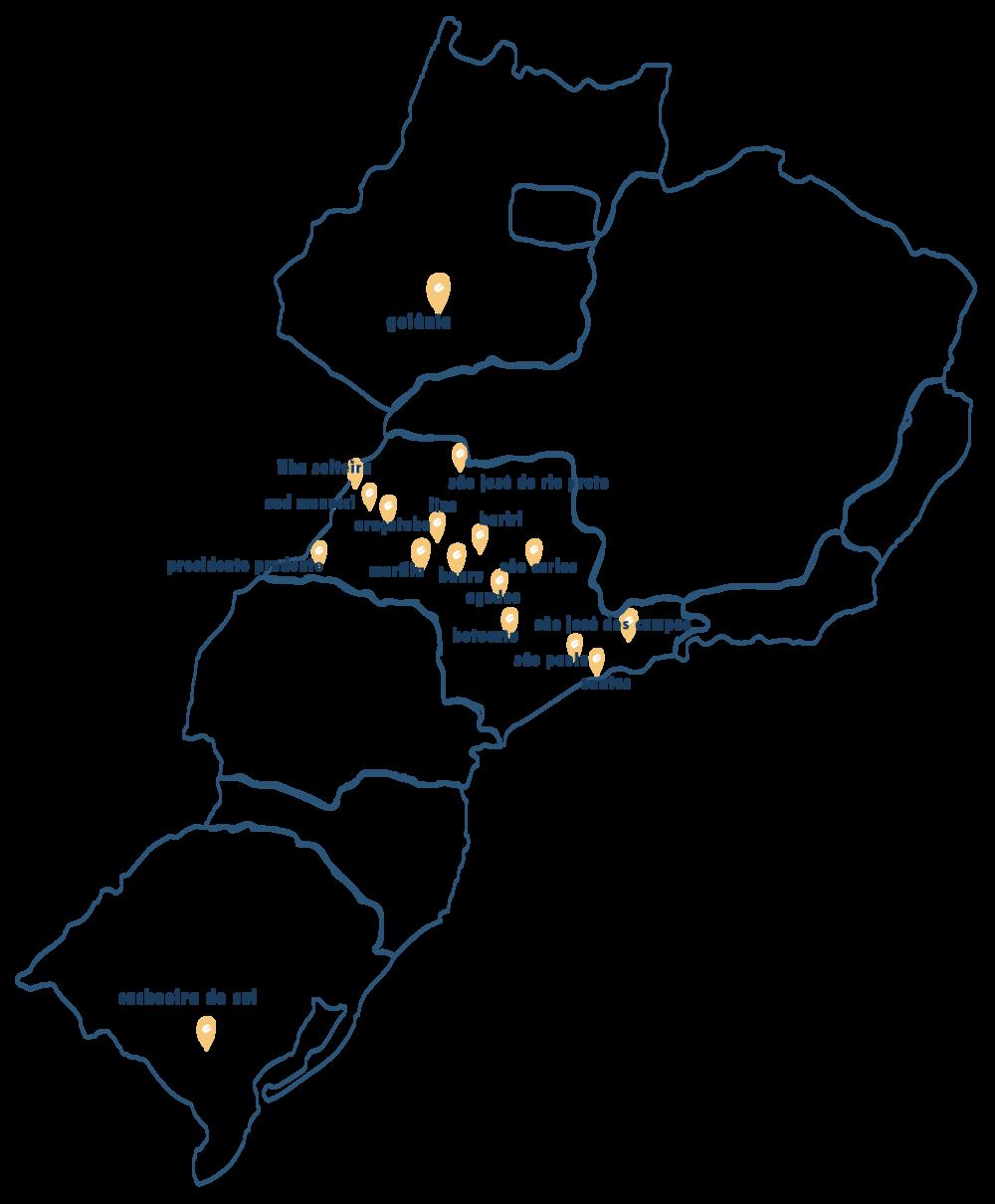 Por onde já passamos - Trabalhos realizados em parceria com o SESC e Oficinas Culturais