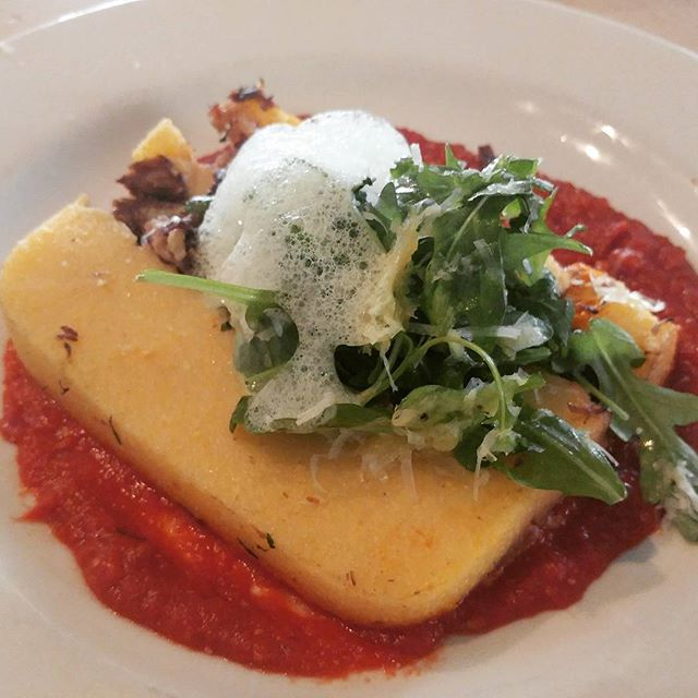Tonight's amazing appetizer special by Chef Rocky: polenta cakes with venison osso bucco fresh arugula, parsley basil foam and shaved parmesan.  And live jazz at 8, come join us! #cornelluniversity #ithacacollege  #livejazz #downtownithaca