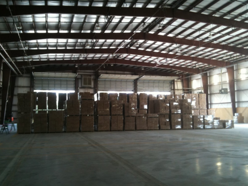 The warehouse is beginning to fill up with palette's of product
