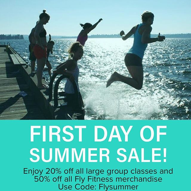 "Happy First Day of Summer! Since we had a technical error with the the code for our Father's Day special, we created another one for you! Enjoy 20% off all large group classes and 50% off Fly Fitness apperal. Use code: ""Flysummer"" at check out."