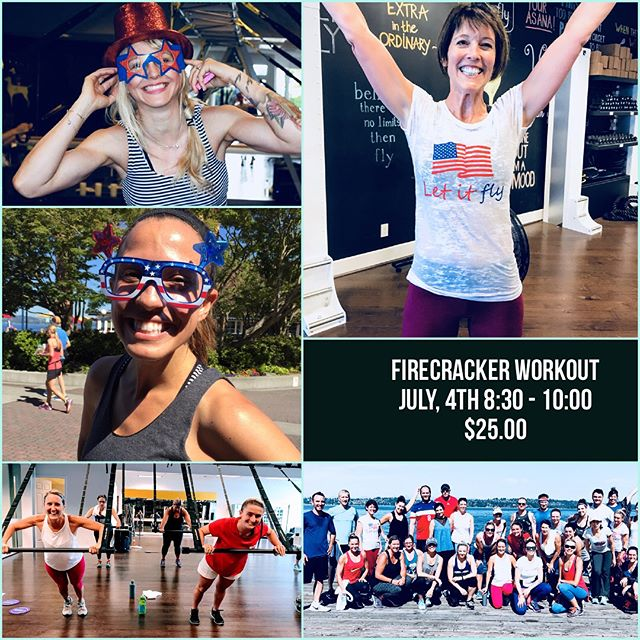Join us for our super fun, Firecracker Workout this July 4th! Three different formats with three different instructors! Start your holiday out with a bang! 8:30 to 10:00 $25 a person