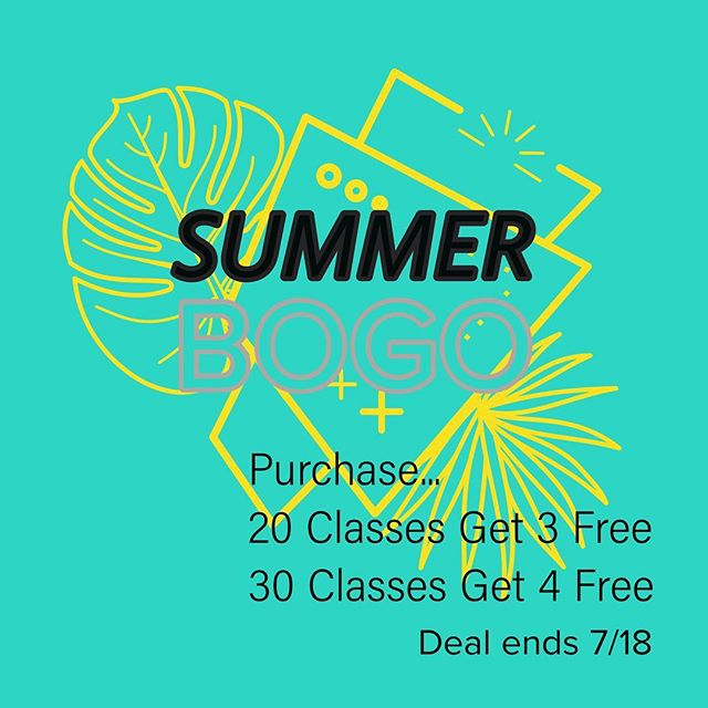 Free Classes!  Grab our last deal of the summer!