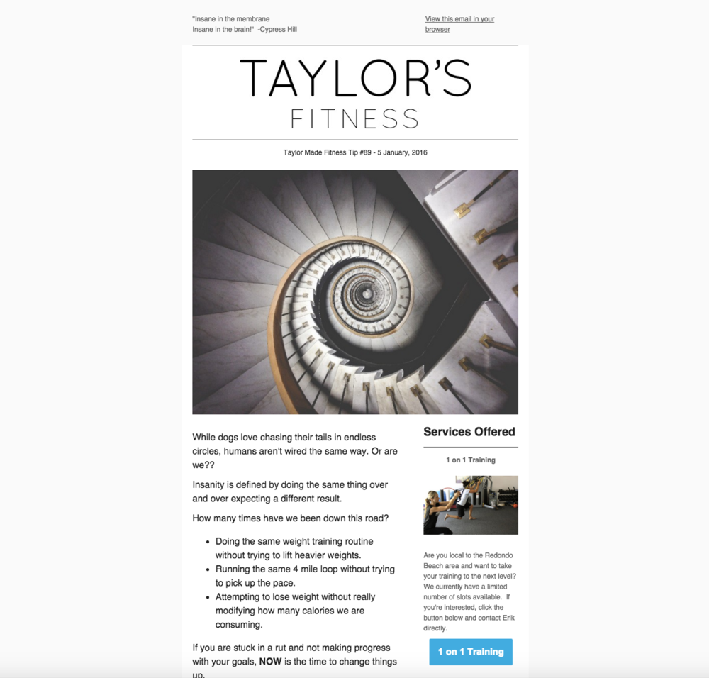 A NEWSLETTER FOR   TAYLOR'S FITNESS   THAT I PRODUCED