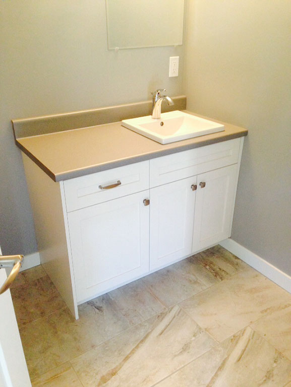 White painted vanity with countertop