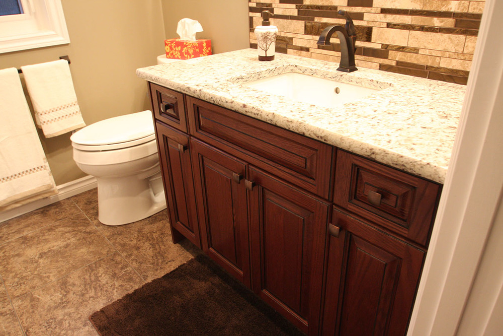 bathroom vanity with countertops