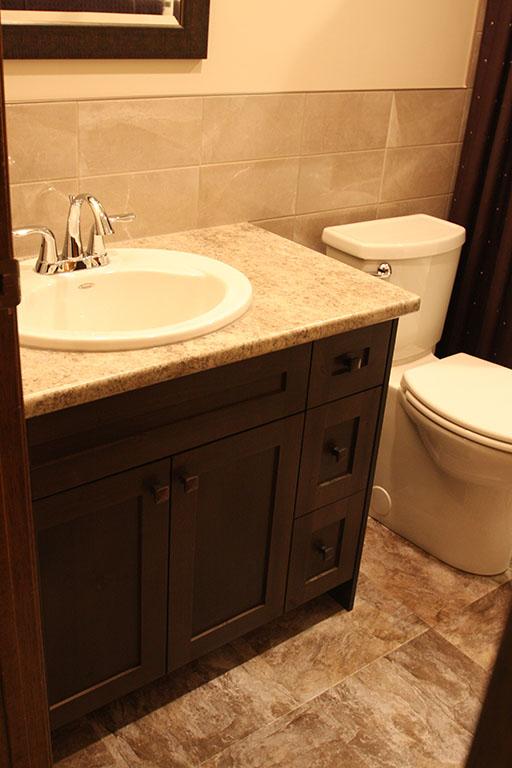 Powder room bathroom vanity with countertops