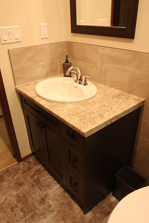 Powder room bathroom vanity with countertops