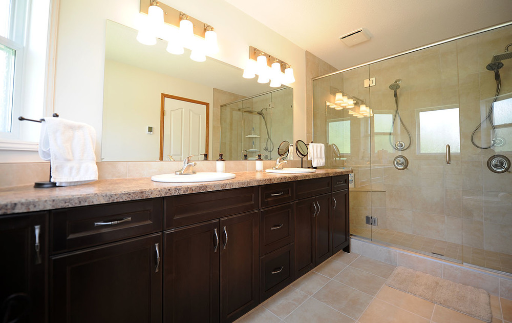 Master bathroom vanity with countertops