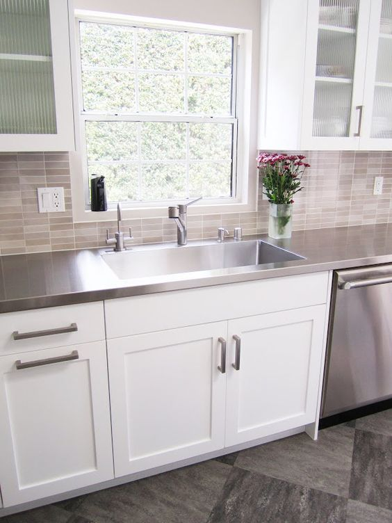 white tile kitchen countertops. Interesting White Stainless Steel Countertops Inside White Tile Kitchen O