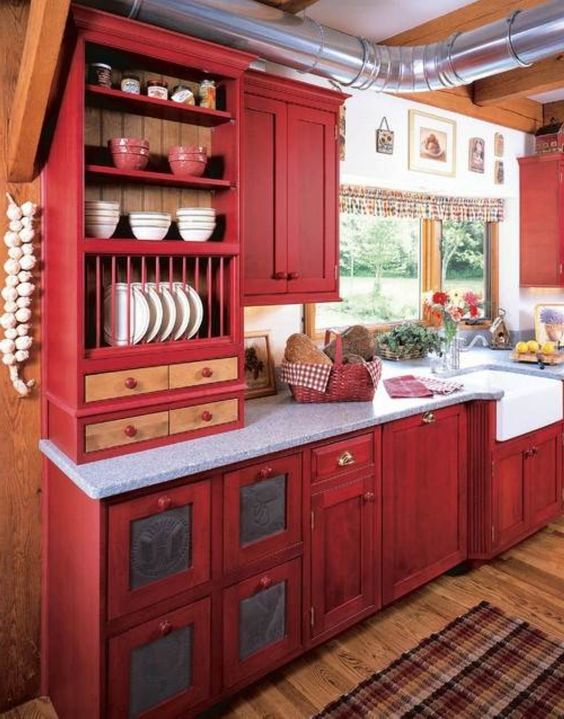 Fully Committed - If you are fully committed to loving red or want to create a unique, country home, go all out! Use texture and patterns to accent and create an inviting space.