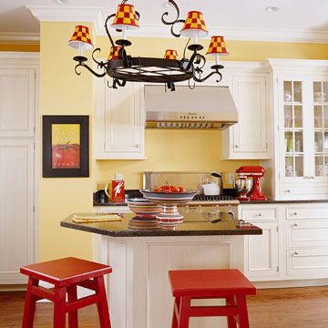 Red Stools - Have old stools that need a repaint? Try a bright bold hue! This can be an easy DIY project... and if you hate it, change it!
