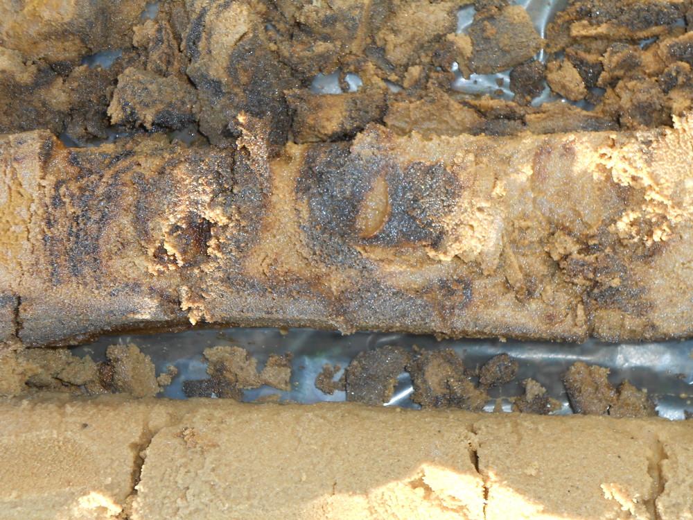 Contaminated soil drillings.