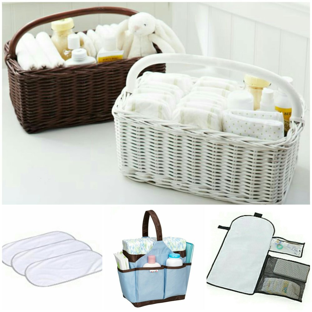 Here are a few examples of a diaper caddies and changing mats, to build changing stations all over your home.