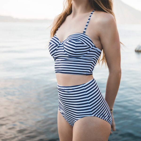 Pana Stripe Pin-up Top . $88 |  Pana Stripe High-Waisted Bottom . $64