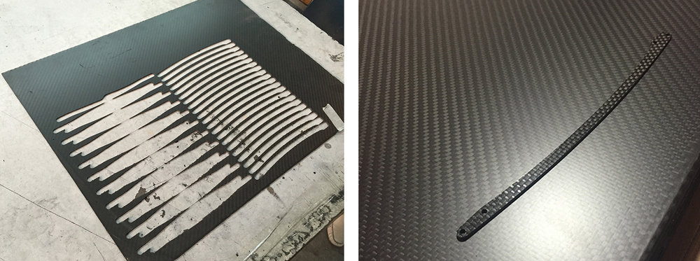 Rib Profiles cut from Carbon Fiber Plates