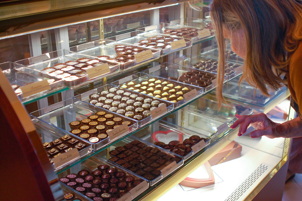 The chocolate case at Eye Candy—full of handmade Parisian-style chocolate.