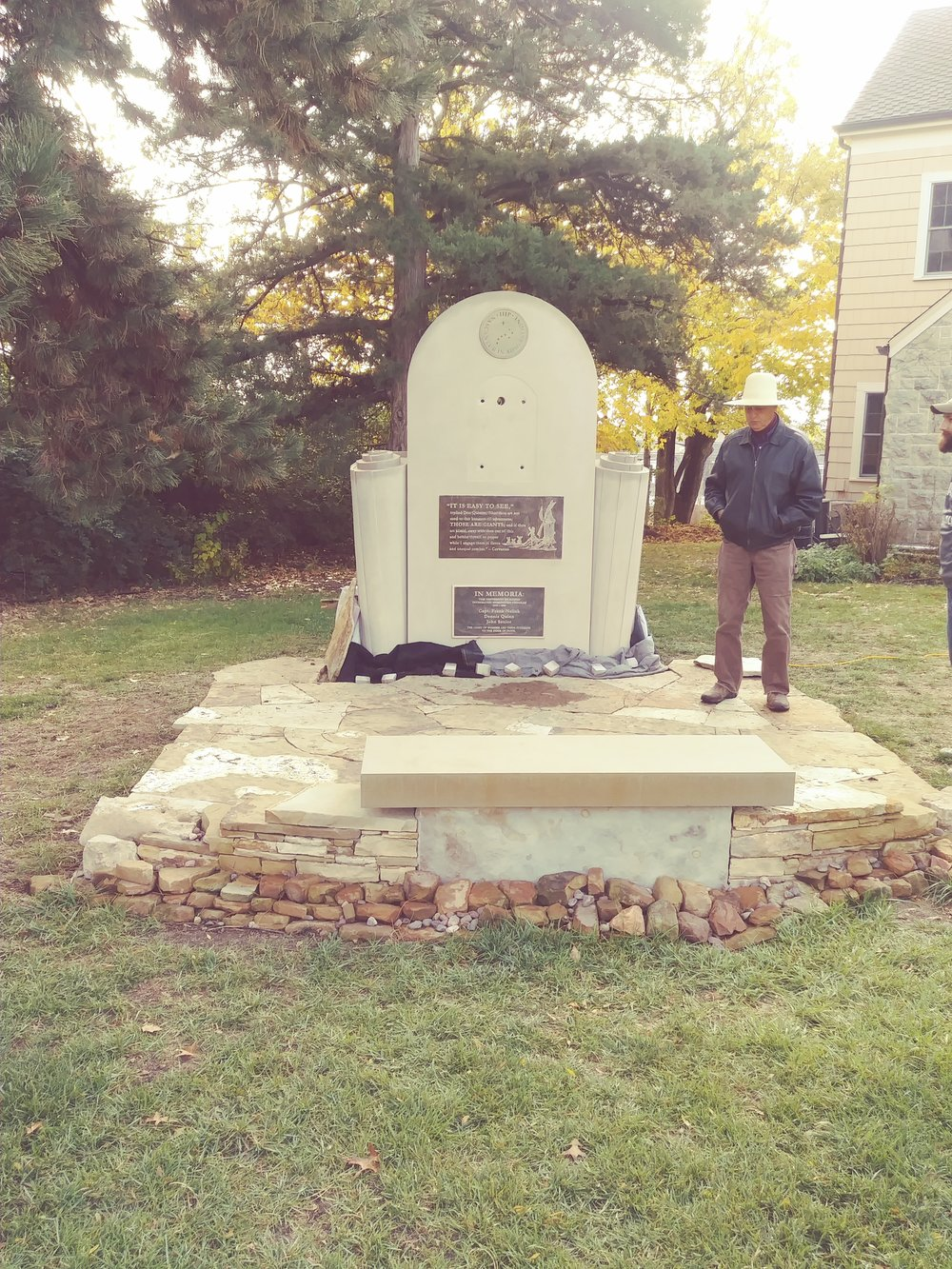 This is a larger picture with our esteemed Stoneworker, Keith Middlemas, standing beside the Memorial before Don Quixote was attached. St Lawrence Center is to the right, due south of the Memorial. To the left is the eastern tree line of the St Lawrence Center property.