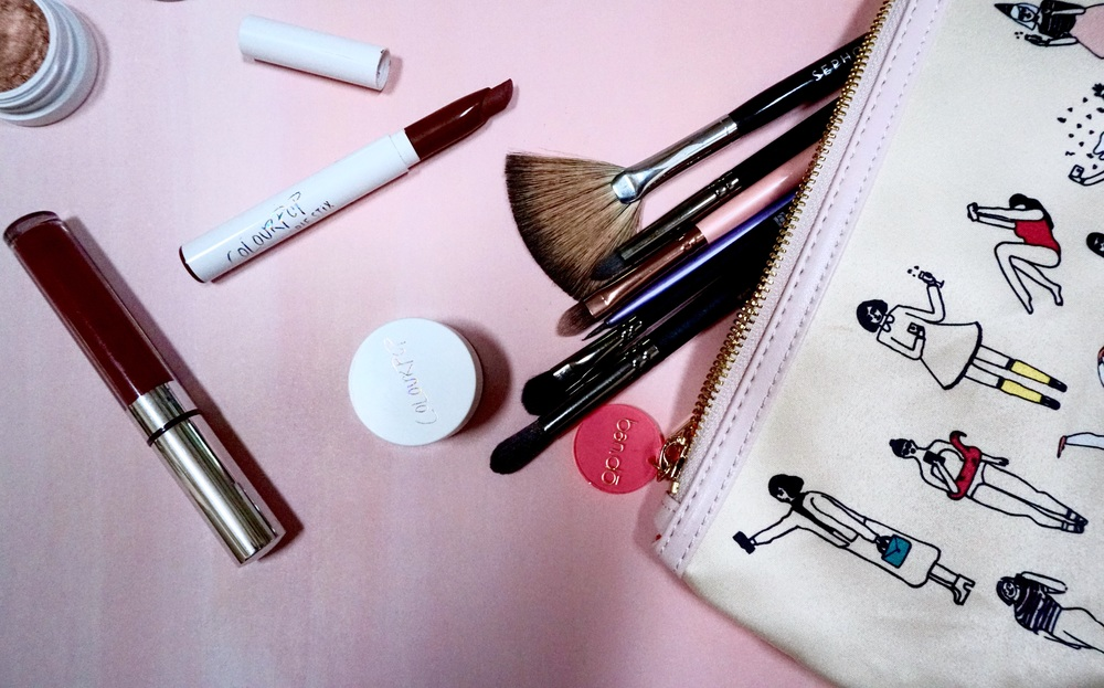 Makeup bag available for purchase at J. Luxe Boutique