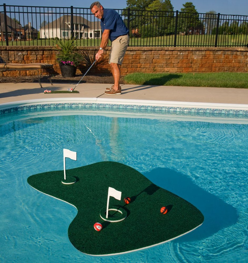 Make tee time anytime with a floating golf game.