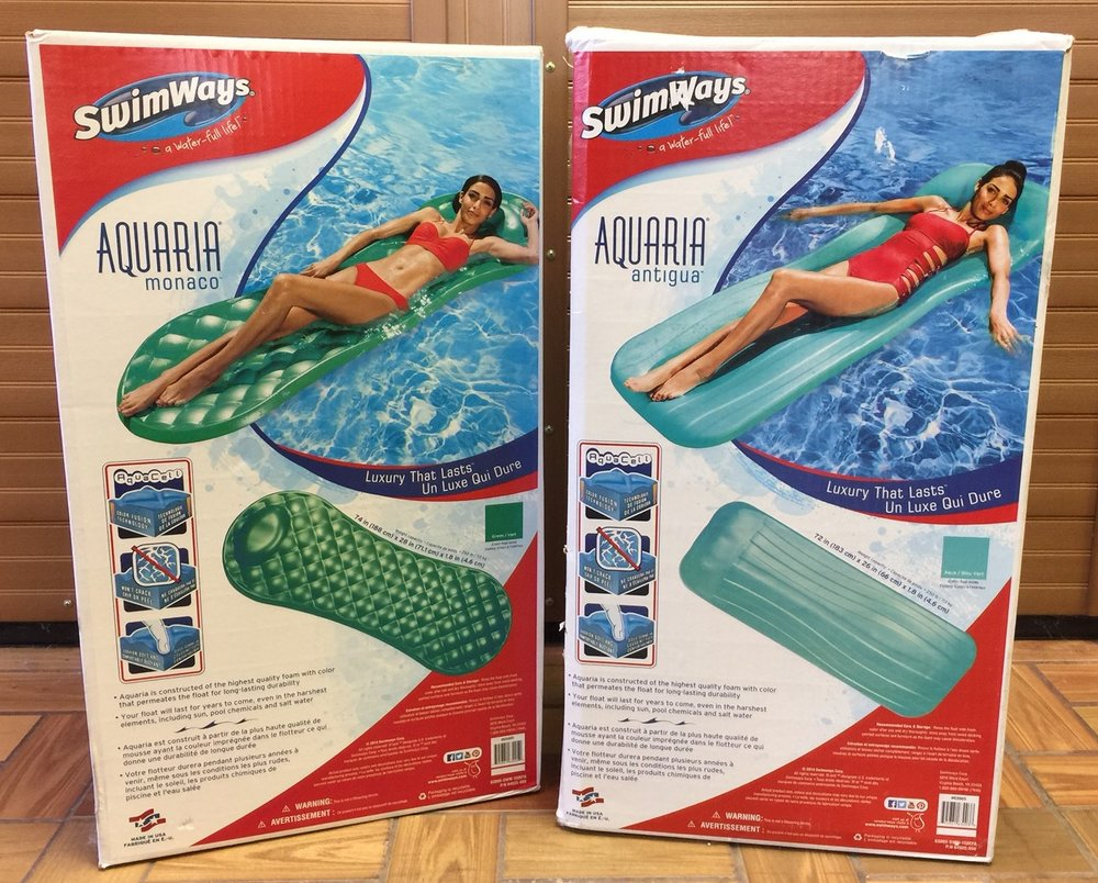 Neoprene floats (above) will last for several years but do cost more than just about any float on the market.  Air mattress floats (right) are great ideas for stocking stuffers as they aren't too much of a monetary investment.