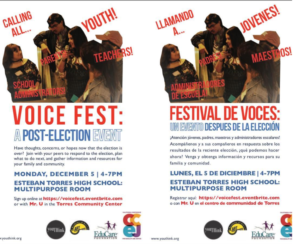 Coming up on December 5th... VOICE FEST: A POST-ELECTION EVENT at Esteban E. Torres High School Photo by: @youthink_youth Event Co-Sponsored by: @torreseducare