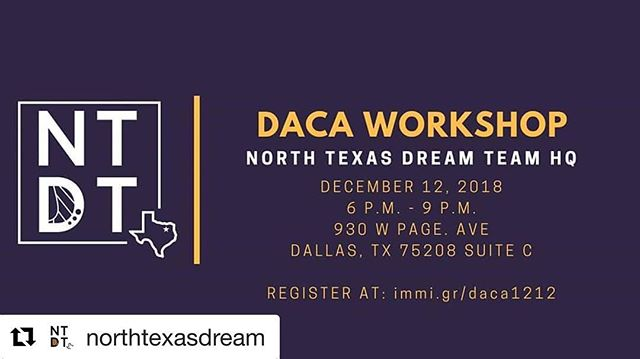🚨 ATTENTION TEXAS 🚨  #Repost @northtexasdream ・・・ 📢 We're having a DACA Wednesday next week! ➡️ If you need to renew register at immi.gr/daca1212 ➡️ Scholarships are still available at VotoLatino, just email daca@votolatino.org #DACA #CommUNITY