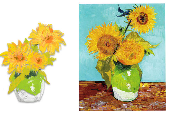 "Left: Van Gogh Sunflower Concept Art for ""Starry Night Game"" Right: Van Gogh"