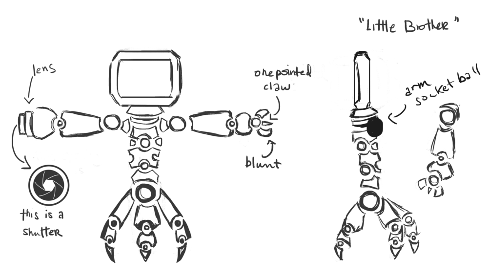"Concept Art: 3D Model Sheet for a ""Lil Brother."" Based on a photography tripod."