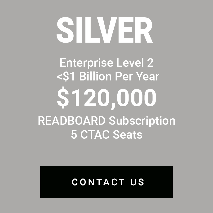 EnterpriseLevel 2 - Designed for the do-it-your-selfer, the SILVER level is an Enterprise solution with access to READBOARD and five (5) seats to our Cyber Threat Analysis Center (CTAC) a dashboard containing multiple cyber tools -- Elastic Stack, CyberChef, Kicker to name a few, all aimed at helping both the beginner and the advanced cyber threat analyst find their way quickly through the data. Connect your systems to our APIs, do your own work on our systems.