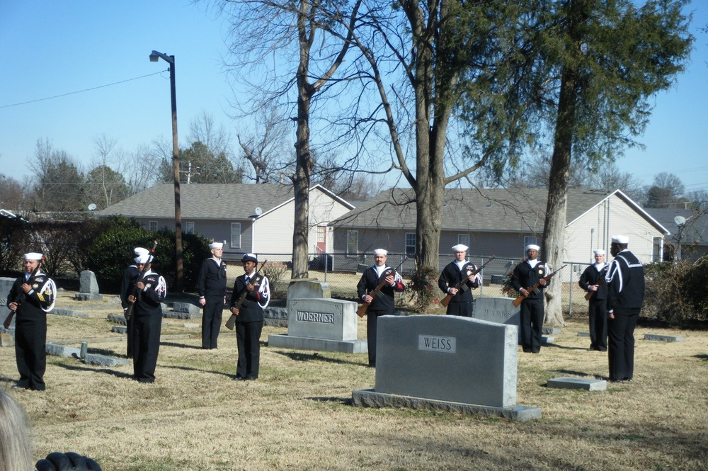 A U.S. Navy honor guard at the burial of Rabbi Richard Sternberger, January 15, 2010