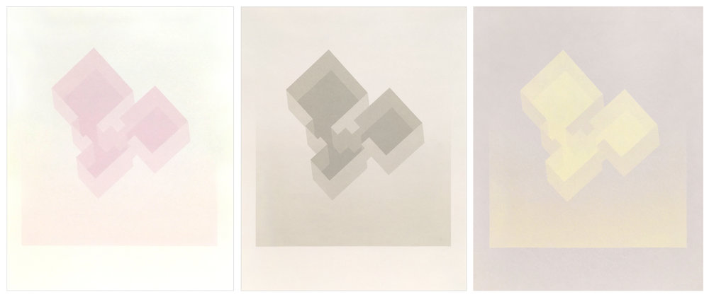315 Barnes Street series (detail images shown below)  $65 each   14in. x 11in. each   screenprint (from left to right: pink on cream paper, grey on light beige paper, bright yellow on grey paper)  Created during a residency at Columbus State University during June and July 2017.