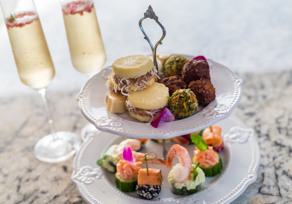 Champagne and hors d'oeuvres.
