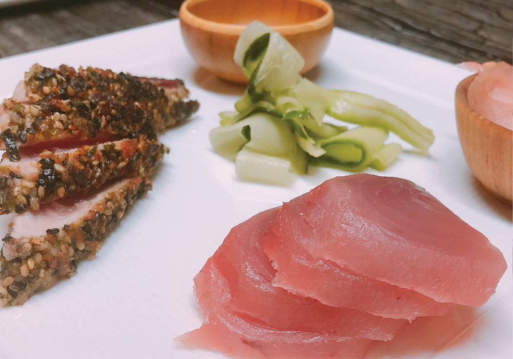 Japanese Style Fresh Tuna and Sashimi, with Pickled Cucumber, Wasabi, Ginger and Soy