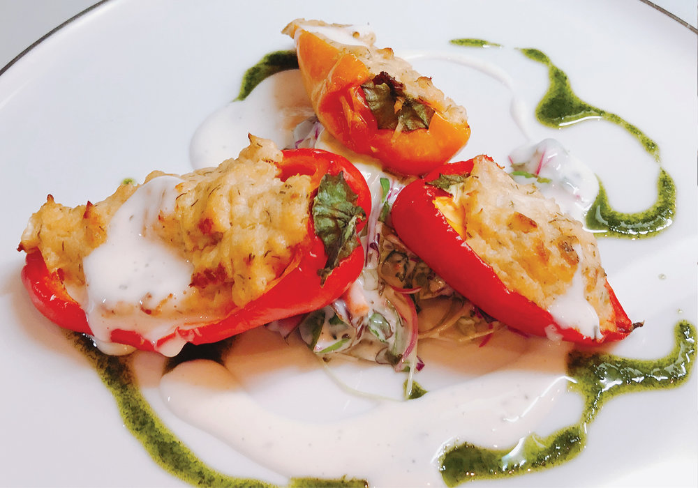 Smoked Snapper, Stuffed Baby Peppers with Ranch Slaw and Tahini, Yogurt Dressing