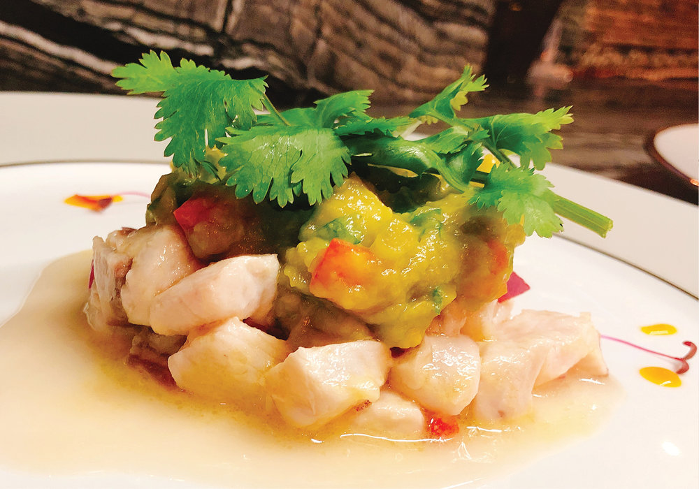 Grouper ceviche with avocado salsa and coriander