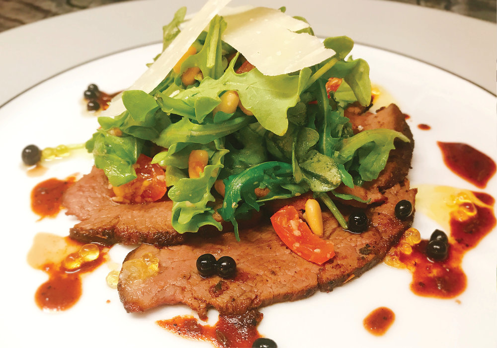 Rare Roast Wagyu Sirloin with Arugula, Parmesan and Toasted Pinenuts