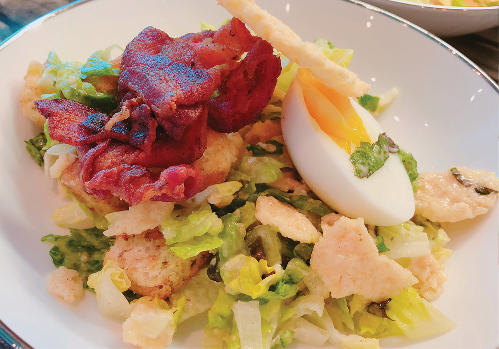Classic Caesar Salad with Crispy Bacon, Soft Egg and Chunky Parmesan