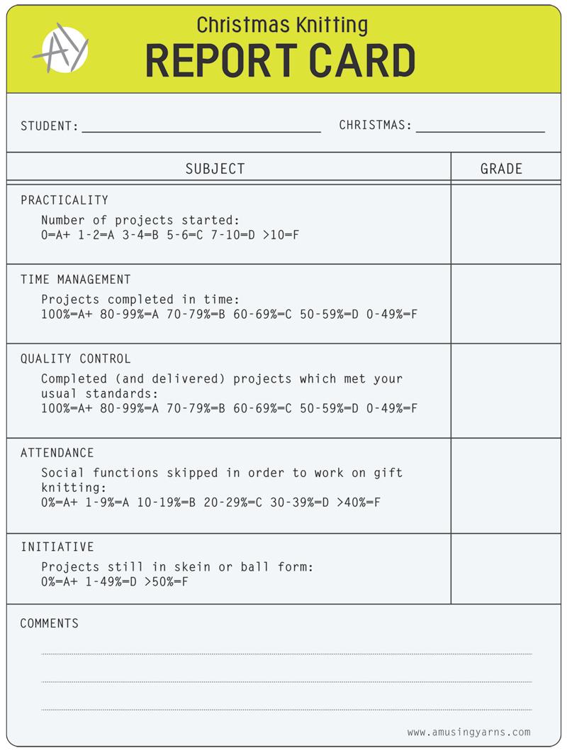 Christmas Knitting Report Card