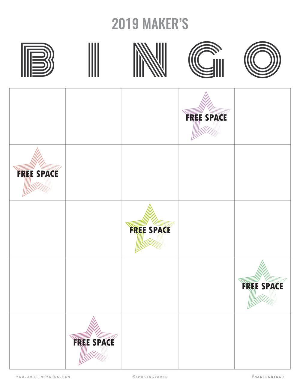 2019 Maker's Bingo Card