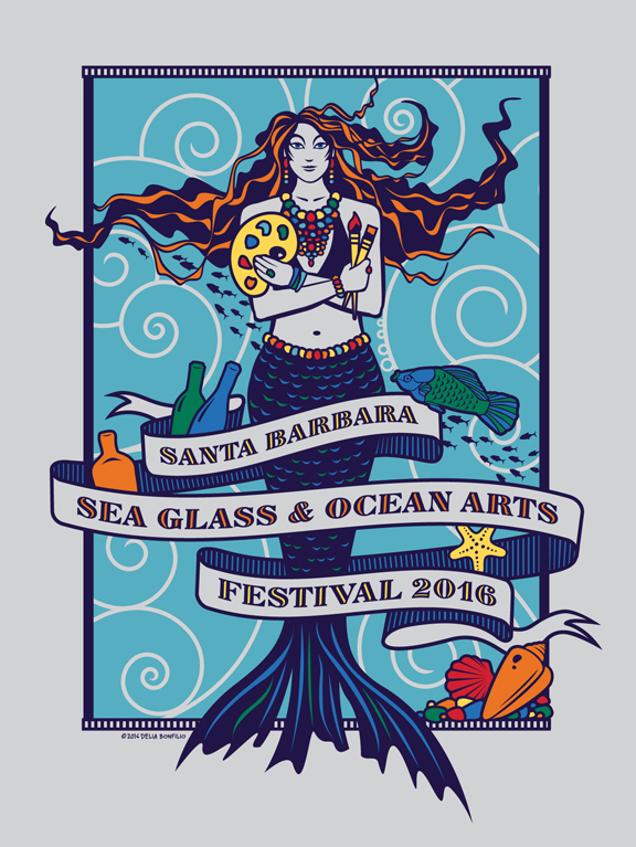 """Merissa"" our 2016 MerMascot (by Delia Bonfilio), represents our ocean artists who are incredibly passionate about the art they create and care so deeply for the environment."
