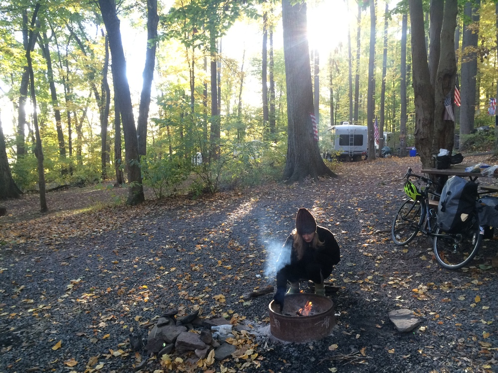 When you're camping and it's cold, you make a fire in the morning too!