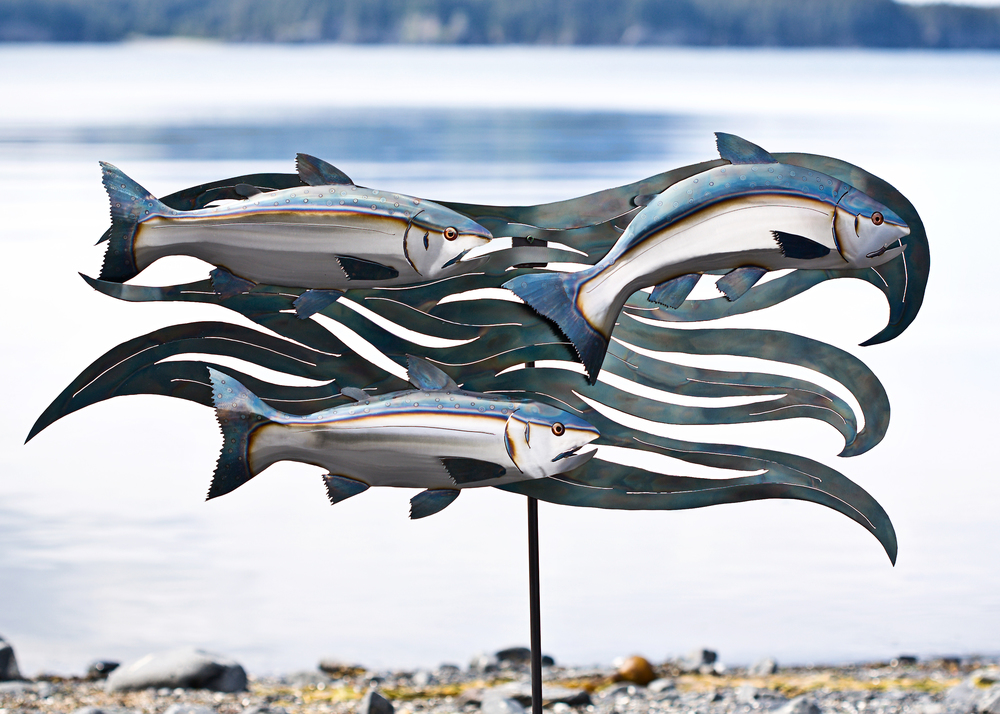 Three Salmon On A Wave