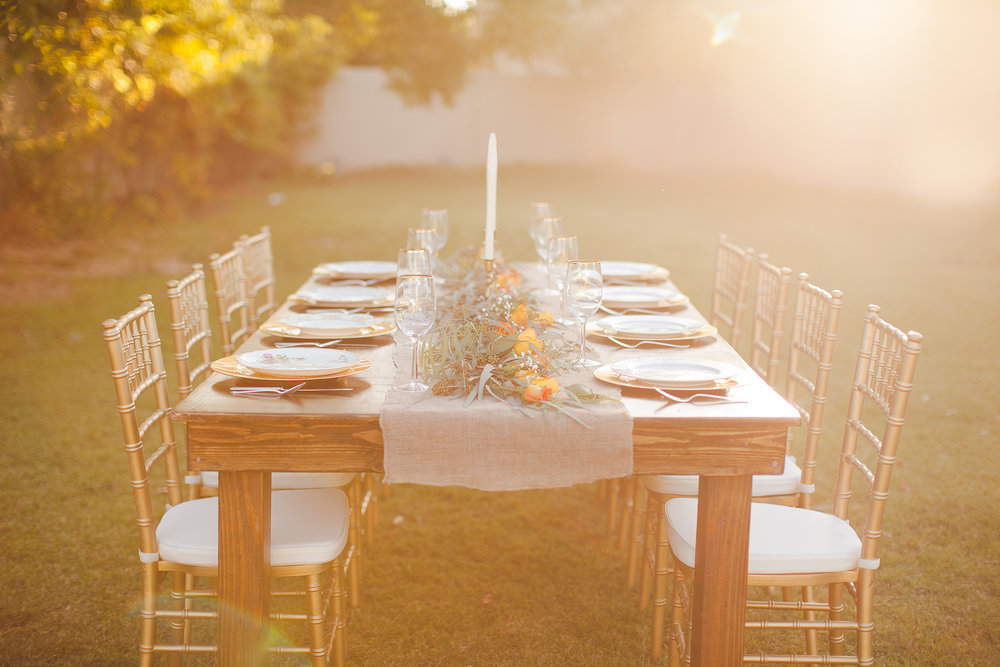Rentals: - http://topnotchrentalsaz.com/ If you're looking for wooden farm tables & chairs, top notch has the BEST at the best pricing. They also have tons of other decor  & rentals from beautiful arches to dance floors.