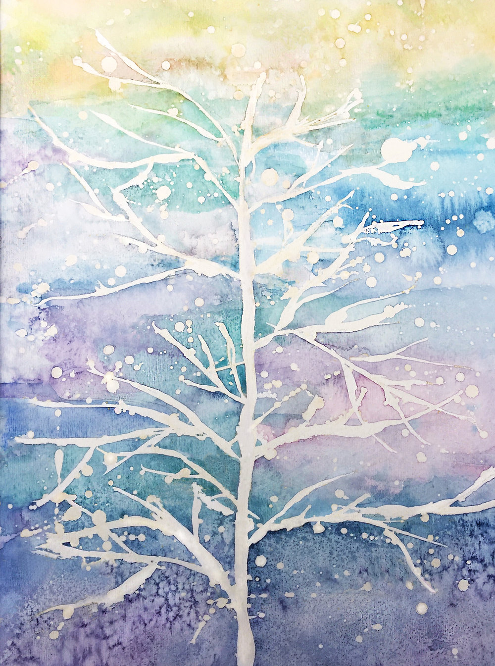 Watercolor + salt on paper